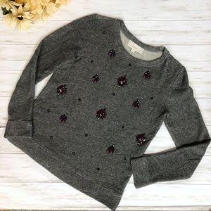Ann Taylor Loft Rhinestone Pullover Sweatshirt